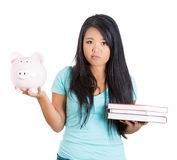 Student having trouble paying for education concept Royalty Free Stock Images
