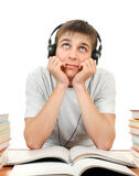 Student in Headphones. Listen to the Music Royalty Free Stock Image