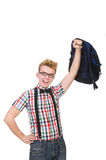 Student with heavy bag isolated on white. The student with heavy bag isolated on white Royalty Free Stock Photography