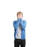 Student hiding face Royalty Free Stock Images