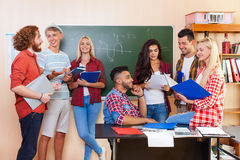 Student High School Group Discussing University Classroom, Casual Young People Communication Royalty Free Stock Photos