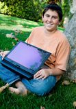 Student with his new touch pad laptop Stock Photo