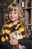 Student of Hogwarts school of magic. Blonde girl student in gown royalty free stock photos