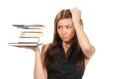 Student hold books, textbooks, notebook Stock Photos