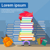 Student Hold Pile Books Hide Head, School Boy Stock Images