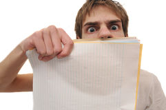 Student holding blank lined paper Royalty Free Stock Image