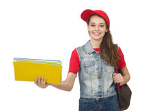 The student holding books isolated on white Stock Photography