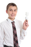 Student holding eco friendly light bulb Stock Images