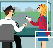 Student holding empty discounts card in the bus. travel pass. Young girl gives a ticket to the driver Stock Illustration