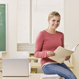 Student holding file folder Royalty Free Stock Image