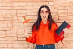 Free Student Holding Flag And Book Learning Foreign Language Royalty Free Stock Photography - 128228137