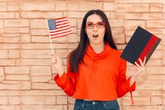 Free Student Holding Flag And Book Learning Foreign Language Stock Image - 128228181