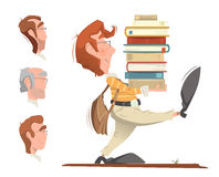 Student holding a heap pile stack of books royalty free illustration