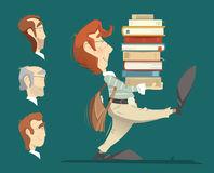Student holding a heap pile stack of books vector illustration