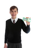 Student holding money royalty free stock photography