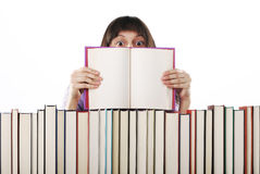 Student holding an open book Royalty Free Stock Image
