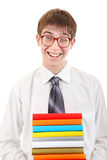 Student Holding Pile of the Books. Happy Student Holding Pile of the Books Isolated on the White Background Stock Photos