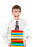 Student Holding Pile of the Books Royalty Free Stock Photo