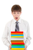 Student Holding Pile of the Books. Surprised Student Holding Pile of the Books Isolated on the White Background Stock Image