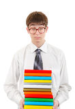 Student Holding Pile of the Books. Wearied Student Holding Pile of the Books Isolated on the White Background Stock Images