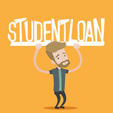 Student holding sign of student loan. Hipster student with the beard holding a sign of student loan. Young male student carrying heavy sign - student loan Royalty Free Stock Photo