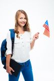 Student holding USA flag Royalty Free Stock Photo