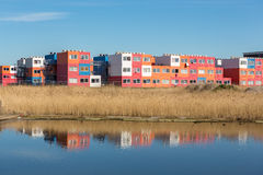 Student housing in containers in North Amsterdam. Remarkable student housing in colorful transport containers near the water in the NDSM area North Amsterdam the royalty free stock photo