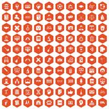 100 student icons hexagon orange. 100 student icons set in orange hexagon isolated vector illustration Stock Photos