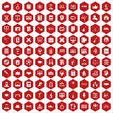 100 student icons hexagon red. 100 student icons set in red hexagon isolated vector illustration Stock Photo