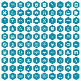 100 student icons sapphirine violet. 100 student icons set in sapphirine hexagon isolated vector illustration Stock Image