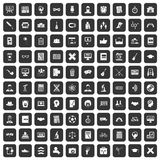 100 student icons set black. 100 student icons set in black color isolated vector illustration Stock Photography