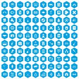 100 student icons set blue. 100 student icons set in blue hexagon isolated vector illustration Royalty Free Illustration