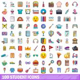 100 student icons set, cartoon style Stock Images