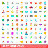 100 student icons set, cartoon style. 100 student icons set in cartoon style for any design illustration vector illustration