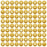 100 student icons set gold. 100 student icons set in gold circle isolated on white vectr illustration royalty free illustration