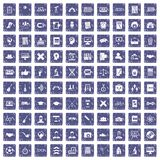 100 student icons set grunge sapphire. 100 student icons set in grunge style sapphire color isolated on white background vector illustration Stock Photography