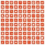 100 student icons set grunge orange. 100 student icons set in grunge style orange color isolated on white background vector illustration stock illustration
