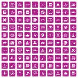 100 student icons set grunge pink. 100 student icons set in grunge style pink color isolated on white background vector illustration Royalty Free Stock Image