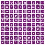 100 student icons set grunge purple. 100 student icons set in grunge style purple color isolated on white background vector illustration Royalty Free Stock Photography