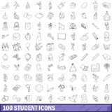 100 student icons set, outline style Stock Photography