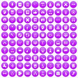 100 student icons set purple. 100 student icons set in purple circle isolated vector illustration Vector Illustration