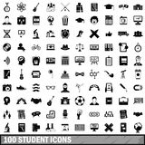 100 student icons set, simple style. 100 student icons set in simple style for any design vector illustration Stock Image