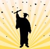 Student im Aufbaustudiumenpartyhintergrund Stockbilder