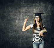 Free Student In Graduation Hat, Finger Point, Master Girl In Glasses Royalty Free Stock Photo - 92807855