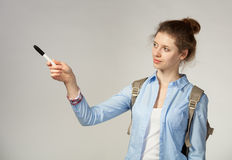Student indicate with marker something Royalty Free Stock Photo