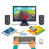 Student Is Gaming On A Desktop Computer Pc Stock Image