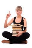 Student Is Sitting With Stack Of Book Stock Image