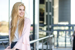 Student isolated smiling portrait close up on the street Stock Images