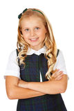Student:. Isolated on white series of a child in student uniform clothing Royalty Free Stock Images