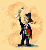 Student. Joyful an A student. Successfully passed the exam at school Royalty Free Stock Images